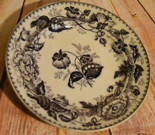 Wedgwood Pearl Antique Black Transferware Plate Horticultural Pattern ca 1850s
