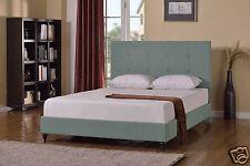 GREEN Upholstered KING Size Platform Bed Frame & Slats Modern Home Bedroom NEW