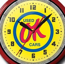 OK Used Cars Neon Clock Hand Made In The USA 20 Inch
