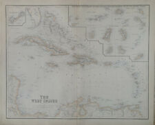 More details for 1859 the west indies large original antique map by g.h. swanston & fullarton