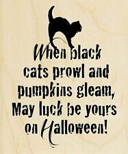 Halloween Black Cat Prowl, Wood Mounted Rubber Stamp STAMPENDOUS, NEW - V323
