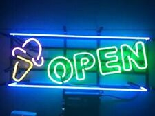 "New Ice Cream Open Neon Light Sign 24""x20"" Lamp Poster Real Glass Beer Bar"