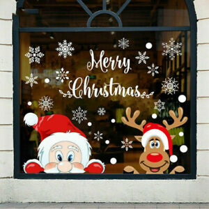 Christmas Snowflake Reindeer Santa Claus Window Cling Static Stickers Holiday UK