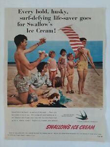 Vintage Australian advertising 1954 ad SWALLOW'S ICE CREAM beach life savers art