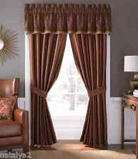 Croscill Avellino Pole Top Drapes & Tailored Valance 5PC Set Red Brown Gold