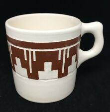 Handmade Pottery Coffee Mug Native American Indian Sioux White and Brown Engrave