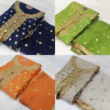 Anarkali Salwar Kameez Chanderi Embroidery Work Pakistani Indian Unstitch Suit