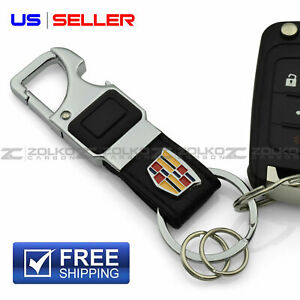 LED FLASHLIGHT KEYCHAIN KEY FOB CHAIN RING BLACK LEATHER FOR CADILLAC