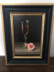 Randolph Brooks 1978 Oil On Board Still Life Photorealism Painting Frame Signed