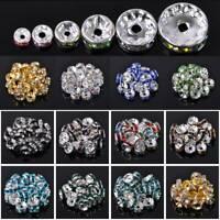 100pcs 4/5/6/8/10mm Rondelle Metal & Rhinestones Loose Crafts Spacer Beads lot