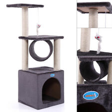 """36"""" Deluxe Cat Tree Condo Furniture House Tunnel Scratcher Pet Play Toy Grey"""