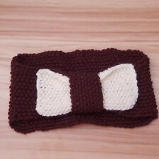 Handmade Knitted Ear Warmer/Headband - Brown with Cream Bow