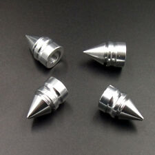 4pcs Silver Aluminum Spiked Car Wheel Tire Valve Air Stem Dust Caps Cover Truck