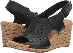 Clarks Lafley Rosen Espadrille Wedge Heel Leather Sandal Women Size 7.5 M Black