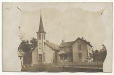 RPPC Church in WOODLAND PA Vintage Clearfield County Real Photo Postcard