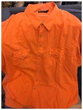 4XB Rare Ralph Lauren Pre-0wned Short Sleeve Orange Linen Button Down Shirt 4XL