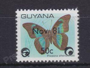 GUYANA MNH STAMP 1981 BUTTERFLY NOV 81 OVERPRINT SURCH SG 876