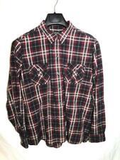 Eddie Bauer XL Red Black Plaid Shirt Womens Long Sleeve Cotton Button Pockets