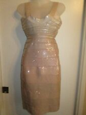 Authentic Herve Leger Ebba S Blush Powder Ombre Sequin Dress Bodycon Bandage