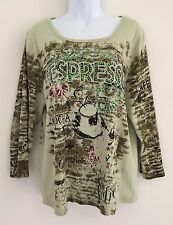 TAKE TWO 3/4 Sleeve Sequined Pullover ESPRESSO CAFE Multi-color ~ Sz XXL