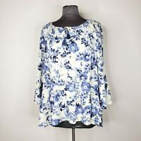J Jill Womens Ivory Blue Floral Peasant Boho Long Sleeve Tunic Blouse Top Size M