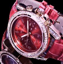 Excellanc Uhr Damenuhr Armbanduhr Rot Rose Gold Farben Strass L30