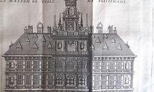 FLESSINGUE maison HOTEL de VILLE GRAVURE originale DELICES des PAYS BAS 1711