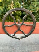 """SINGER SEWING MACHINE CO. TREADLE CAST IRON  PULLEY FLYWHEEL 12 1/2"""" ANTIQUE  F"""