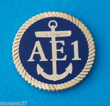HMAS AE1 SUBMARINE LAPEL BADGE ENAMEL & GOLD PLATED 25MM DIA WITH 1 PIN RAN SUB