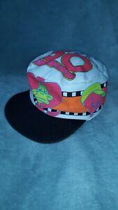 Vtg warner bros looney Bugs Bunny daffy WB tweety Hat cap vintage all over print