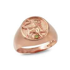 Gold Leo Zodiac Peridot Ring