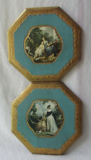 """PAIR OF  ITALIAN GILT FLORENTINE TOLE WOOD WALL PLAQUES 7-1/2"""""""
