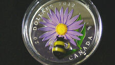 2012 $20 fine silver coin Aster and bumble bee  venetian glass