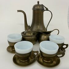 Brass/Copper Vtg Tea Pot Creamer/Sugar 4 Cups / Saucers