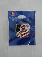 2002 Salt Lake Winter Olympics - Pinback Pin Unopened Figure Skating - US Flag