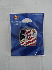 2002 Salt Lake Winter Olympics - Pinback Pin Unopened Figure Skating - US Flag