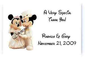 100 Personalized Disney Mickey and Minnie Vintage Wedding Thank You Note Cards