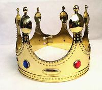 Plastic Jewels Imperial King Queen Boys Girls Crown Royal Fancy Dress Halloween