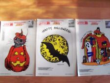 "1989 Kinduell Presto 5"" x 7"" Clings Halloween Window Decoration Set of 3 NOS"