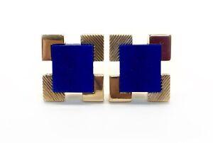 Vintage 14k Yellow Gold Lapis Lazuli Mens Cufflinks 13.3 Grams Rectangular shape