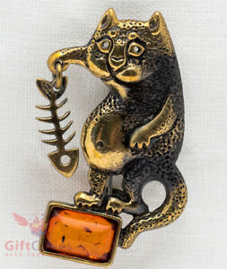 Brass Amber Full belly cat with fish bone Brooch IronWork