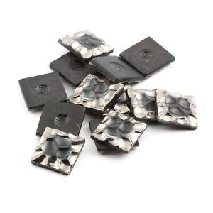 (12) Czech vintage bumpy silver square black glass cabochons button parts 16mm