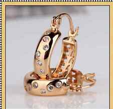 18ct gold filled pop style Snap Closure hoop earring small, Rhinestone Earrings
