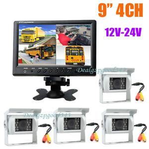 "4x White 18 IR Car Rear View Backup Camera + 9"" LCD 4CH Quad Monitor Kit 12V-24V"