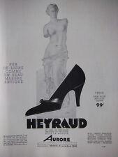 PUBLICITÉ DE PRESSE 1933 VÉNUS CHAUSSURES HEYRAUD PUR DE LIGNE - ADVERTISING