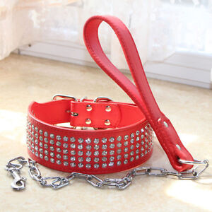 Rhinestone Dog Collar 2 inch Bling Jeweled Leather Dog Collar Leash Lead set