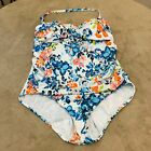 Time And Tru Womens Multicolor Floral Lined One Piece Swimsuit Plus Size 1X