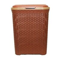 50L Large Rattan Plastic Laundry Bin Washing Multi Storage Basket Box BROWN