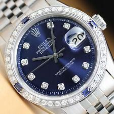 ROLEX мужские Datejust 18K белого золота с бриллиантами сапфиром и сталь, синий циферблат, наручные часы