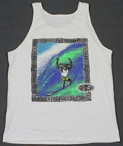 Vintage 90's Maui And Sons Shark Surfing Tank Top T-Shirt Medium Single Stitch